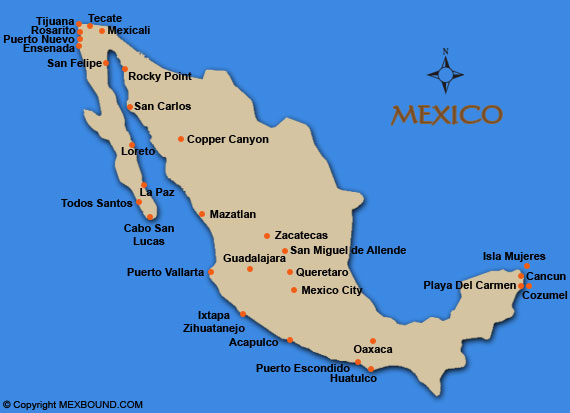 Maps Update 500315 Map of Mexico East Coast Beaches 55 – East Mexico Map